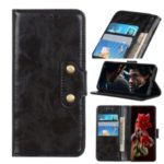 Double Brass Buttons Crazy Horse Skin Wallet Leather Phone Shell for Xiaomi Mi 10 – Black