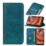 Litchi Grain Auto-absorbed Split Leather Phone Shell for Xiaomi Mi 10 5G/Mi 10 Pro 5G – Green