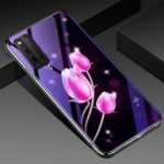 Plated TPU Frame + Blue-ray Tempered Glass + PC Back Hybrid Cover for VIVO IQ003 – Tulip