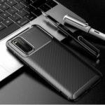 Drop Resistant Carbon Fiber Texture TPU Phone Cover for Vivo iQOO3 5G – Black