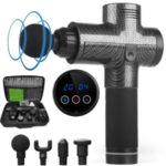 T-07 Touch Screen Button Massage Gun Percussive Deep Vibration Muscle Relaxer Massager Set  – US Plug