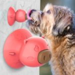Pig Shape Dog Lick Toy with Suction Cup Teeth Cleaning Chew Toy – Red