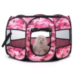 Camouflage Folding Pet Dog Tent House Cage Puppy Dog Cat Outdoor Kennel Fence – Pink / Size: S
