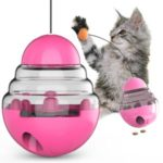 Pet Tumbler Cat Toys Leaky Food Ball Cat Stick Toy Ball – Rose