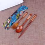 Portable Wooden Chopsticks Spoon Fork Tableware Set with Vintage Cloth Storage Bag – Brown