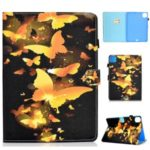 Pattern Printing Leather Card Holder Tablet Case for iPad Pro 11-inch (2020) – Gold Butterflies