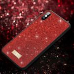 SULADA Dazzling Glittery Surface Leather Coated TPU Case for iPhone XS Max 6.5 inch – Red