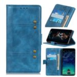 Rivet Decorated Cowide Texture PU Leather Stand Wallet Case for Samsung Galaxy A70e – Blue