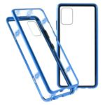 Magnetic Adsorption Metal Frame + Tempered Glass Cover for Samsung Galaxy A51 – Blue