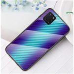 Carbon Fiber Grain Tempered Glass + PC + TPU Phone Case for Samsung Galaxy A81/Note 10 Lite – Blue