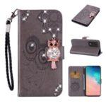 Imprint Flower Owl Rhinestone Decor Leather Wallet Case for Samsung Galaxy S20 Plus – Grey