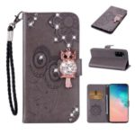 Rhinestone Decoration Imprint Owl Leather Shell Wallet Stand Phone Cover for Samsung Galaxy S20 – Brown