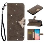 Bee Pattern Rhinestone Decor Leather Wallet Stand Phone Case for Samsung Galaxy A51 – Brown