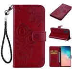 Imprint Owl Flower Pattern Leather Wallet Stand Phone Cover Shell for Samsung Galaxy A51 – Red