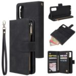 Zipper Pocket Multiple Card Slots Leather Stand Case for Samsung Galaxy S20 – Black