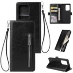 Magnetic Absorbed Zipper Leather Shell for Samsung Galaxy S20 Ultra – Black