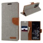 MERCURY GOOSPERY Canvas Diary Leather Wallet Case for Samsung Galaxy S20 Ultra – Grey