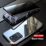 Anti-peep Magnetic Installation Metal Frame + Tempered Glass Combo Case [Not Support Fingerprint Unlock] for Samsung Galaxy S20 Ultra – Black