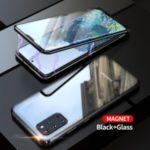 Magnetic Installation Metal Frame + Tempered Glass Full Covering Hybrid Case [Support Fingerprint Unlock] for Samsung Galaxy S20 Plus – Black