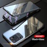 Magnetic Installation Metal Frame + Tempered Glass Full Covering Combo Shell [Support Fingerprint Unlock] for Samsung Galaxy S20 Ultra – Black