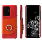 FIERRE SHANN Knight Oil Wax Genuine Leather Coated PC Shell with Card Slot for Samsung Galaxy S20 Ultra – Red