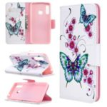 Pattern Printing Wallet Stand Flip Leather Phone Shell for Samsung Galaxy A70e – Flowers and Butterflies