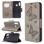 Imprint Butterflies Wallet Stand Flip Leather Case for Samsung Galaxy A70e – Grey