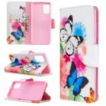 Pattern Printing Leather Wallet Case for Samsung Galaxy A41 (Global Version) – Butterflies and Flowers