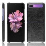 Crocodile Skin PU Leather Coated Hard PC Case Shell for Samsung Galaxy Z Flip – Black