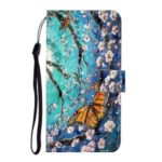 Light Spot Decor Patterned PU Leather Wallet Case Phone Covering for Samsung Galaxy S20 Ultra – Butterfly and Flower Tree
