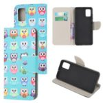 Patterned Cross Texture Stand Leather Shell Wallet Phone Case for Samsung Galaxy A71 5G SM-A716 – Multiple Owls