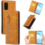 Zipper Pocket Wallet Leather Phone Cover Casing for Samsung Galaxy S20 – Brown