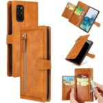 Zipper Pocket Wallet Leather Phone Cover Casing for Samsung Galaxy S20 Plus – Brown
