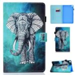 Pattern Printing Leather Stand Case with Card Slots for Samsung Galaxy Tab S6 Lite P610 P615 – Elephant
