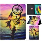 Pattern Printing PU Leather Card Holder Case for Samsung Galaxy Tab S6 Lite P610 P615 – Sunset Dream Catcher