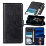 Crazy Horse Leather Flip Cover Wallet Stand Mobile Phone Case for Samsung Galaxy A91 / S10 Lite – Black