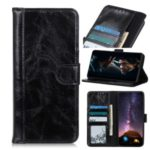 Crazy Horse Split Leather Wallet Shell for Samsung Galaxy A71 5G SM-A716 – Black