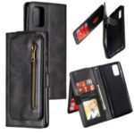 Zipper Pocket with 9 Card Slots Leather Case for Samsung Galaxy A71 SM-A715 – Black