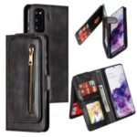 Zipper Pocket 9 Card Slots Leather Wallet Case for Samsung Galaxy S20 – Black