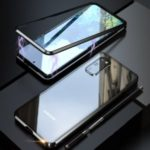 LUPHIE Magnetic Metal Frame + Tempered Glass Back Phone Cover for Samsung Galaxy S20 – Black