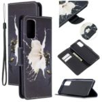 Cross Texture Pattern Printing Leather Wallet Phone Casing for Samsung Galaxy S20 Plus – White Flower