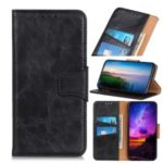 Crazy Horse Skin with Wallet Leather Stand Case for LG K41S – Black