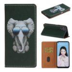 Pattern Printing PU Leather Card Slot TPU Phone Case for Huawei Nova 6 SE/7i/P40 Lite  – Elephant with Glasses