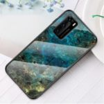 Marble Texture Tempered Glass + PC + TPU Hybrid Shell Case for Huawei P40 – Emerald