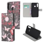 Protection Wallet Phone Case Printing PU Leather Cover for Huawei P40 lite E – Butterfly and Flower