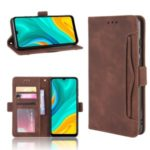 Multiple Card Slots Leather Wallet Stand Shell for Huawei Enjoy 10e – Brown