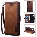 Retro Style Splicing Leather Wallet Cover Stand Phone Case for Huawei P40 lite/nova 6 SE/Nova 7i – Dark Brown