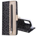 Lace Flower Zipper Pocket Leather with Wallet Phone Case for Huawei P40 – Black