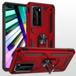 Ring Kickstand Armor Case PC TPU Combo Mobile Shell for Huawei P40 Pro – Red
