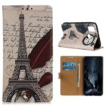Pattern Printing PU Leather Wallet Stand Phone Shell for Honor Play 9A – Eiffel Tower and Letters